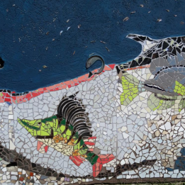 Ceramic mosaics with water and fish motive